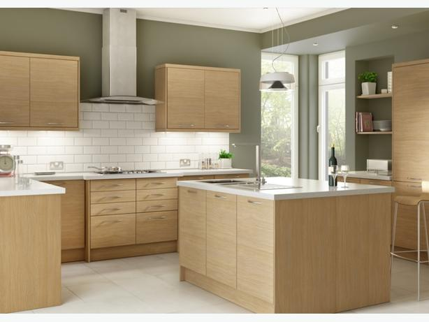 7 Piece Kitchen Units - Light Oak Slab - BRAND NEW