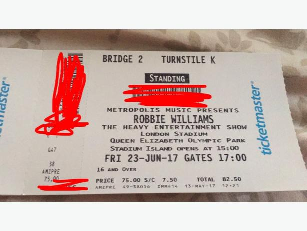 2 Robbie Williams tickets for London on Friday
