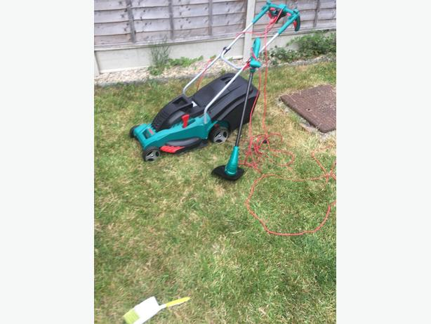 bosch lawnmover and lawn trimer good condition