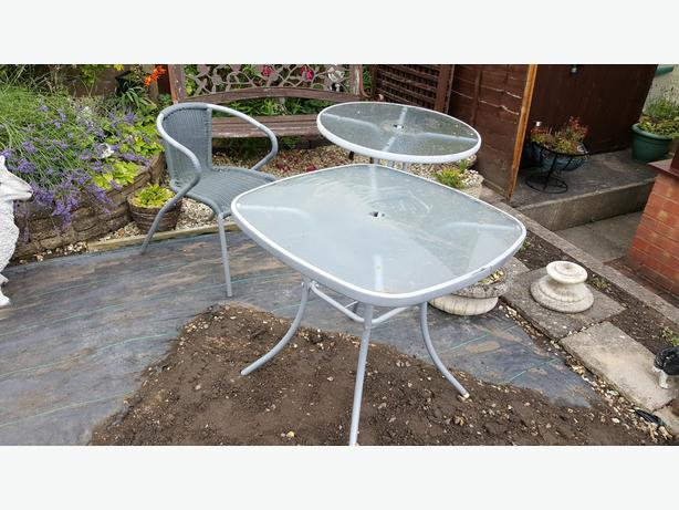 Garden  Tables    Two   plus  chair  plus  bench