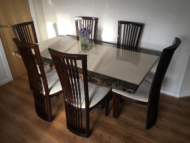 Marble Dining set + matching coffee table