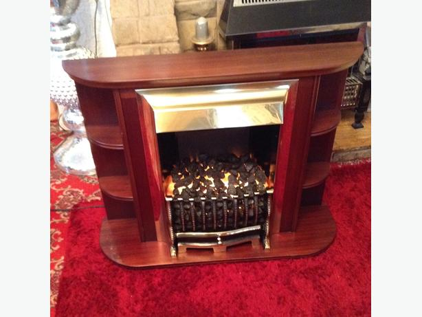 Electric Fire with Surround, Solid Brass.