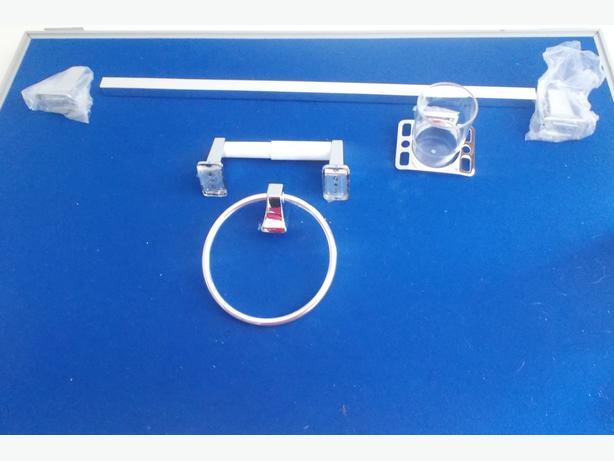 4 Piece Bathroom Accessory Set - Silver/Chrome Plate Finish