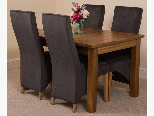 Cotswold Rustic Dining Table With 4 Lola Dining Chairs [Black Fabric]