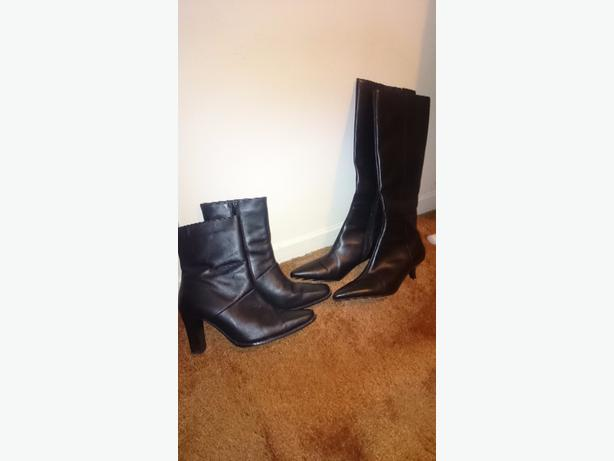 x2 pairs of womens black boots black ankle and knee high size 4 and 5