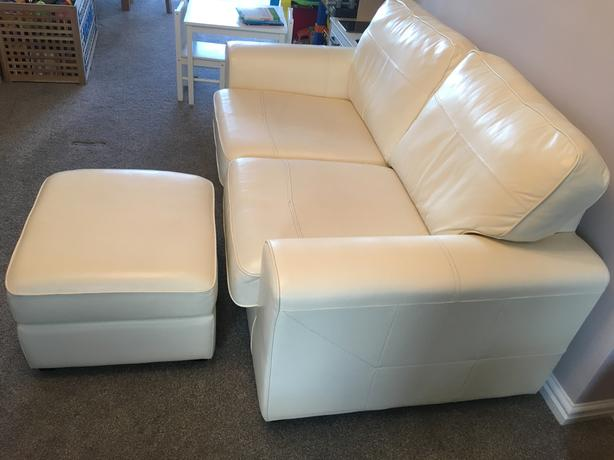  Log In needed £225 · DFS 2 Seater Cream Leather Sofa And Foot Stool
