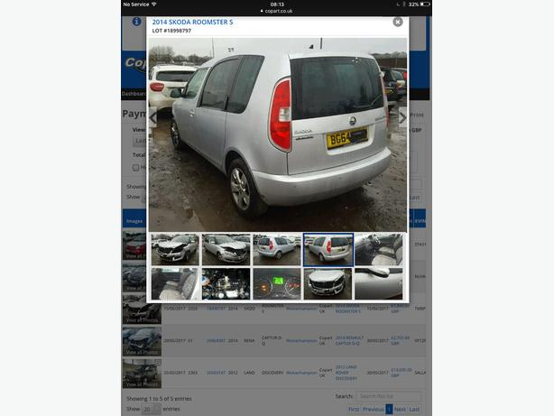 2014 skoda roomster damaged cat d auto semi