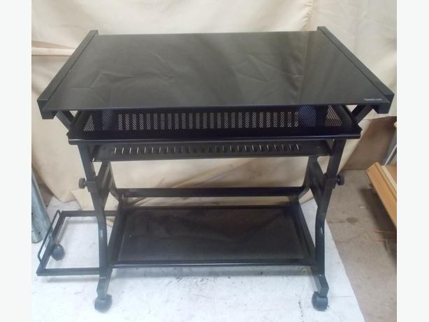 Seconique Cori Computer Desk Black Glass 78.5 x 53 x 83cm
