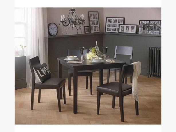 Hygena square solid wood dining table and 2 chairs (NEW)