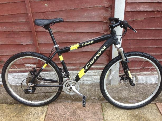 MENS 20 INCH CARRERA KRAKEN SE DISC BRAKE SUSPENSION MOUNTAIN BIKE 27 SPEED £120