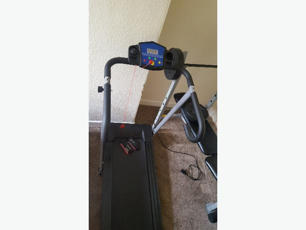 electric treadmill, weight bench+30kg of weights and reebok AB Trainer