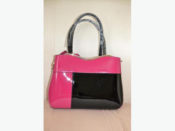 Women`s pink/black handbag