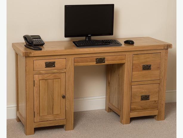 Cottage Light Solid Oak Computer Desk (Large)