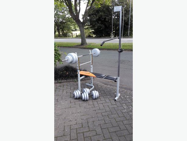 BENCH WITH LAT PULL DOWN & 50KG WEIGHTS & BARS
