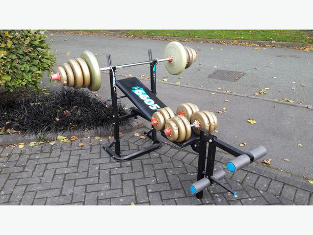 YORK WEIGHTS BENCH WITH 67.6KG WEIGHTS & BARS