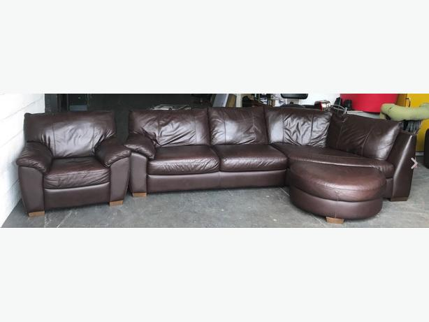 Ikea Brown Leather Corner Sofa & Armchair WE DELIVER