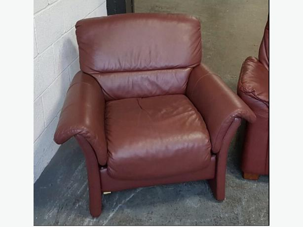 RRP £1500 Ekornes Wine Red Leather Armchair (2 Available).WE DELIVER