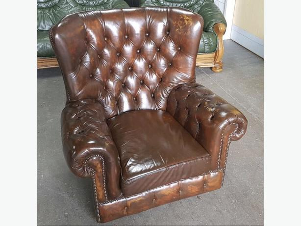 Chesterfield Brown Leather Wingback Armchair .WE DELIVER