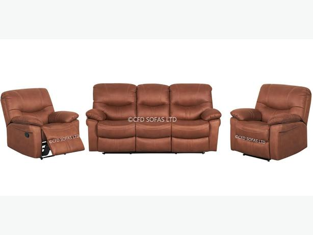 3 + 1 + 1 suede fabric recliner sofa set