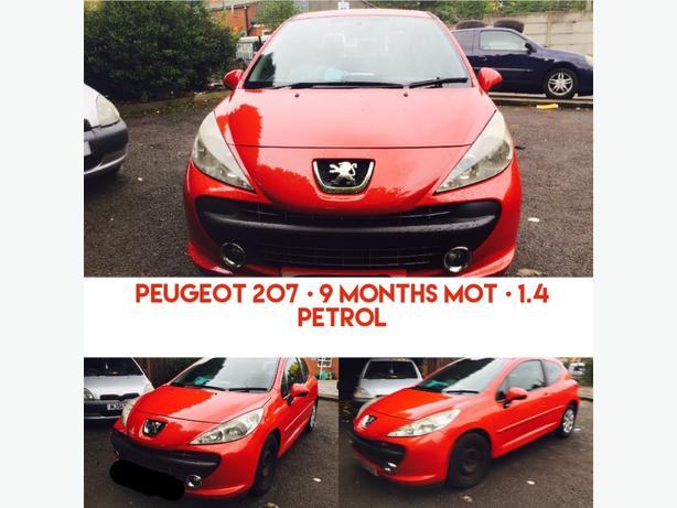 PEUGEOT 207 • 1.4 PETROL • 9 MONTHS MOT • IDEAL FIRST CAR