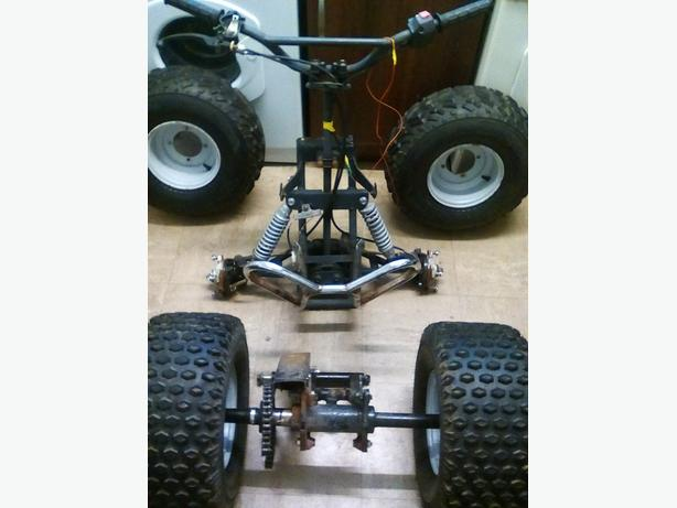 Quad axle and front end complete steering and brakes suspension