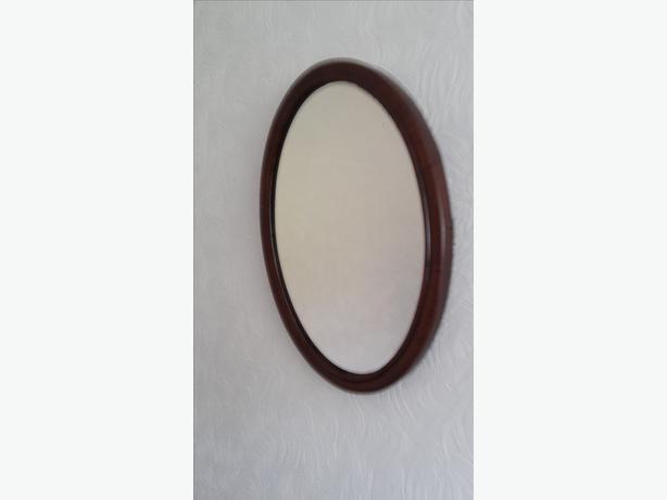 Wooden Mahogany Oval Mirror