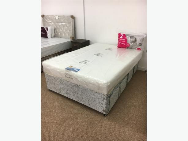 KINGSIZE QUALITY DIVAN BED BASE SET IN CRUSHED VELVET