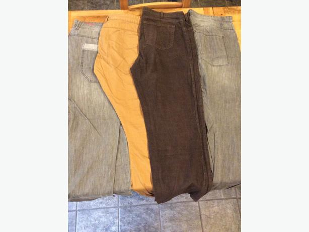 Four pairs of men's casual trousers in size 38
