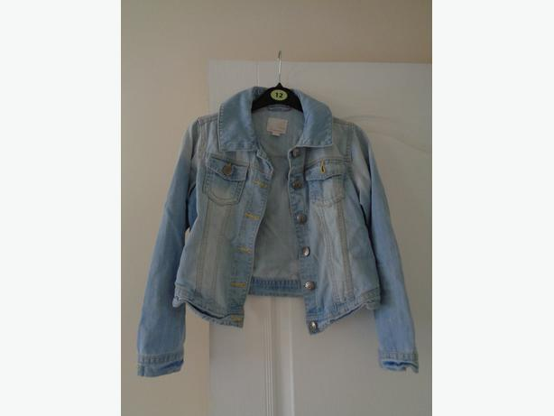 girls next light blue denim jacket age 11-12