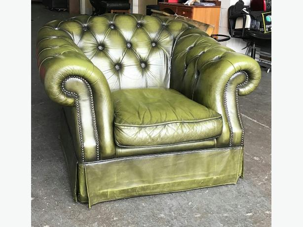 Green leather Chesterfield Club chair WE DELIVER