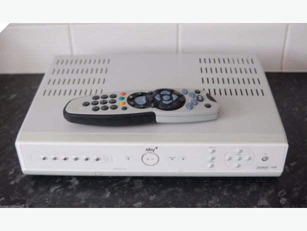 Sky+ digibox 80GB with remote control and satellite dish.