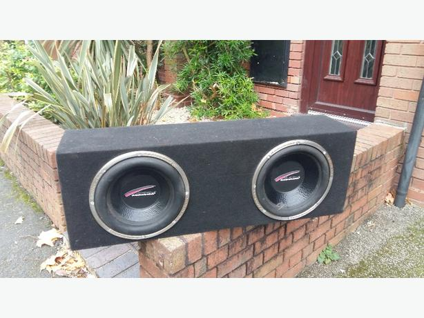 2 x 12 inch audiobahn subs with 2000watt amp.