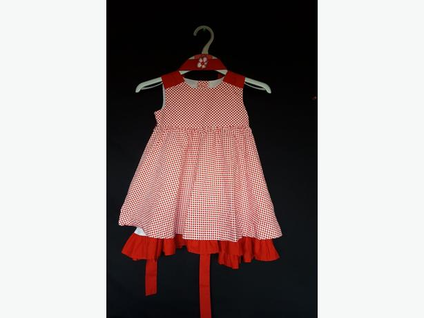 Girls Red Spotty Dress & Belt -  29cm x 51cm