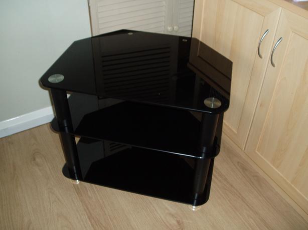 Black Glass TV/console unit small