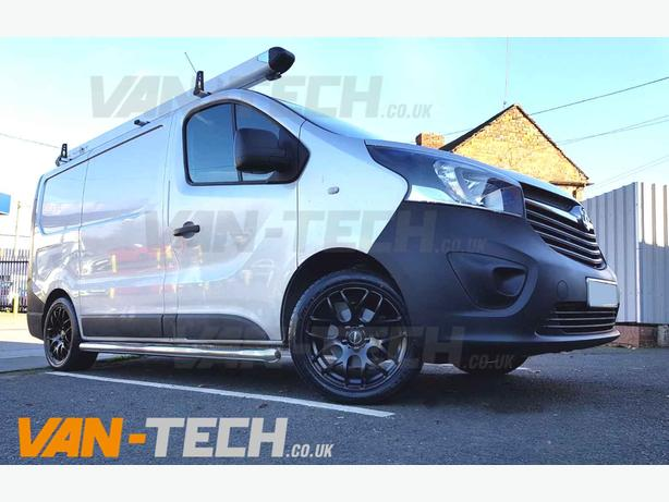 "Calibre Exile-R 18"" Black Alloy Wheels / Tyres fitted to a Vauxhall Vivaro"