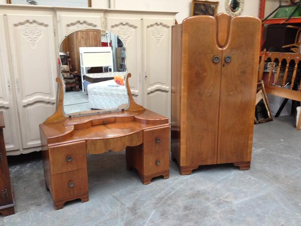 Antique Walnut Wardrobes And Dressing Table Armoires & Wardrobes Furniture