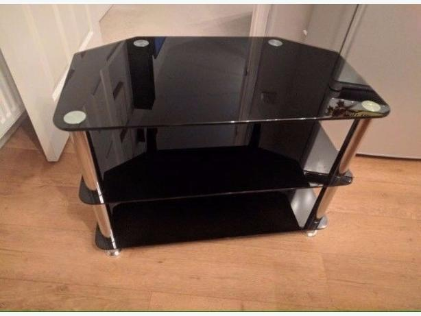 Lovely Black Glass 3 Tier TV Table/ Unit Good Condition Can Deliver £5 Locally