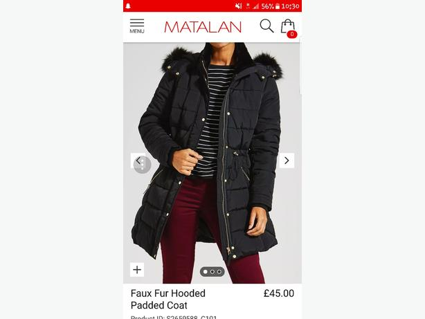 Matalan Faux Fur Hooded Padded Coat West Bromwich Wolverhampton
