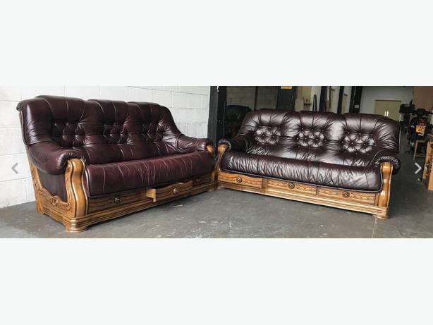 Ox Blood Red Leather 3&3 Seat Chesterfield Sofa Set WE DELIVER UK WIDE