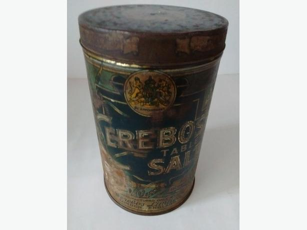 VINTAGE CEREBOS TABLE SALT SEE HOW IT RUNS TIN