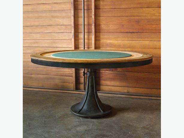 """63"""" Rd poker table Industrial black wood iron base with top soft leather trim"""