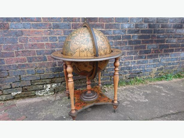 RETRO GLOBE ROTATING COCKTAIL GIN BAR STORAGE CABINET FAB DECOR USE