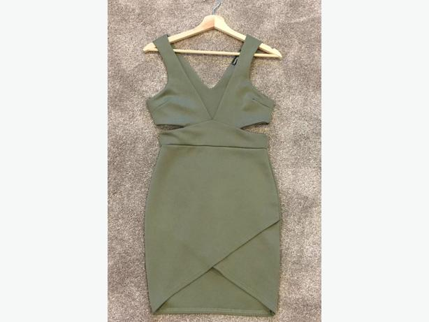 Brand new boohoo dress khaki cut out size 8