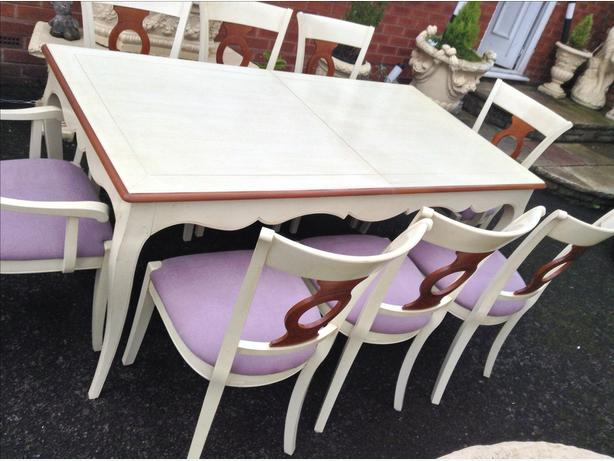 Cream Table & Eight Chairs