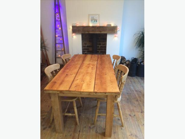 Solid chunky pine dining room kitchen table only no chairs