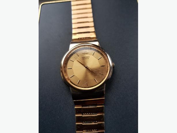 Seiko Men's Classic 1980's Quartz  Wristwatch - Gold -Plated Case-Bracelet