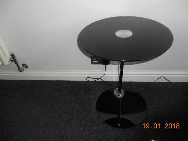 Black glass side / laptop table
