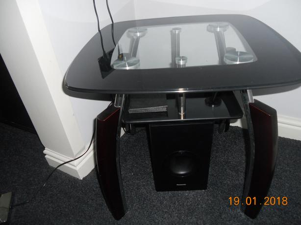 Black and Clear glass side table