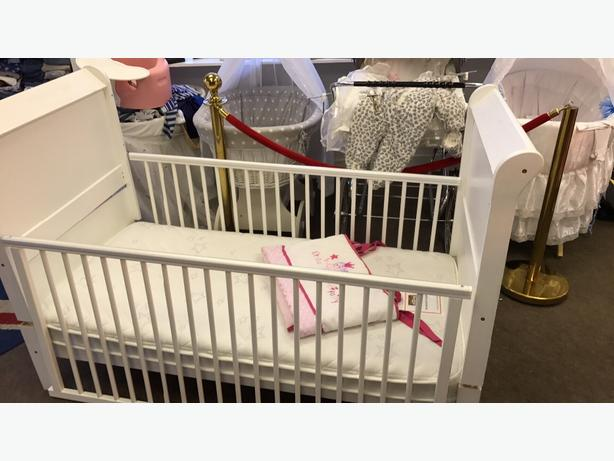 cot bed powder white