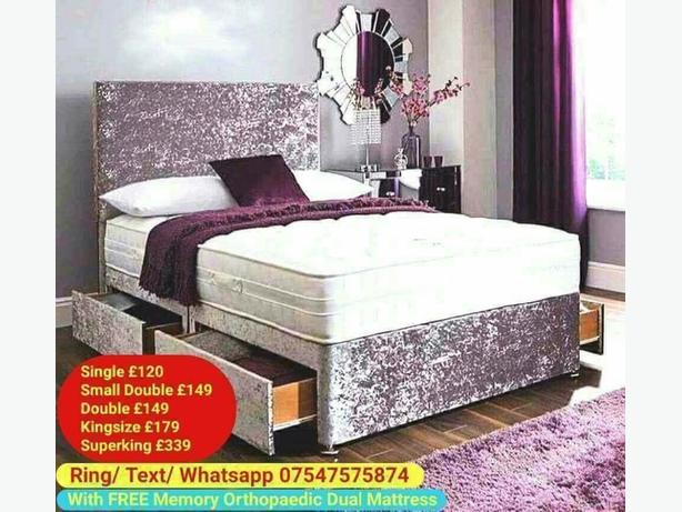 Brand New Crush Velvet Divan + Headboard + Mattress